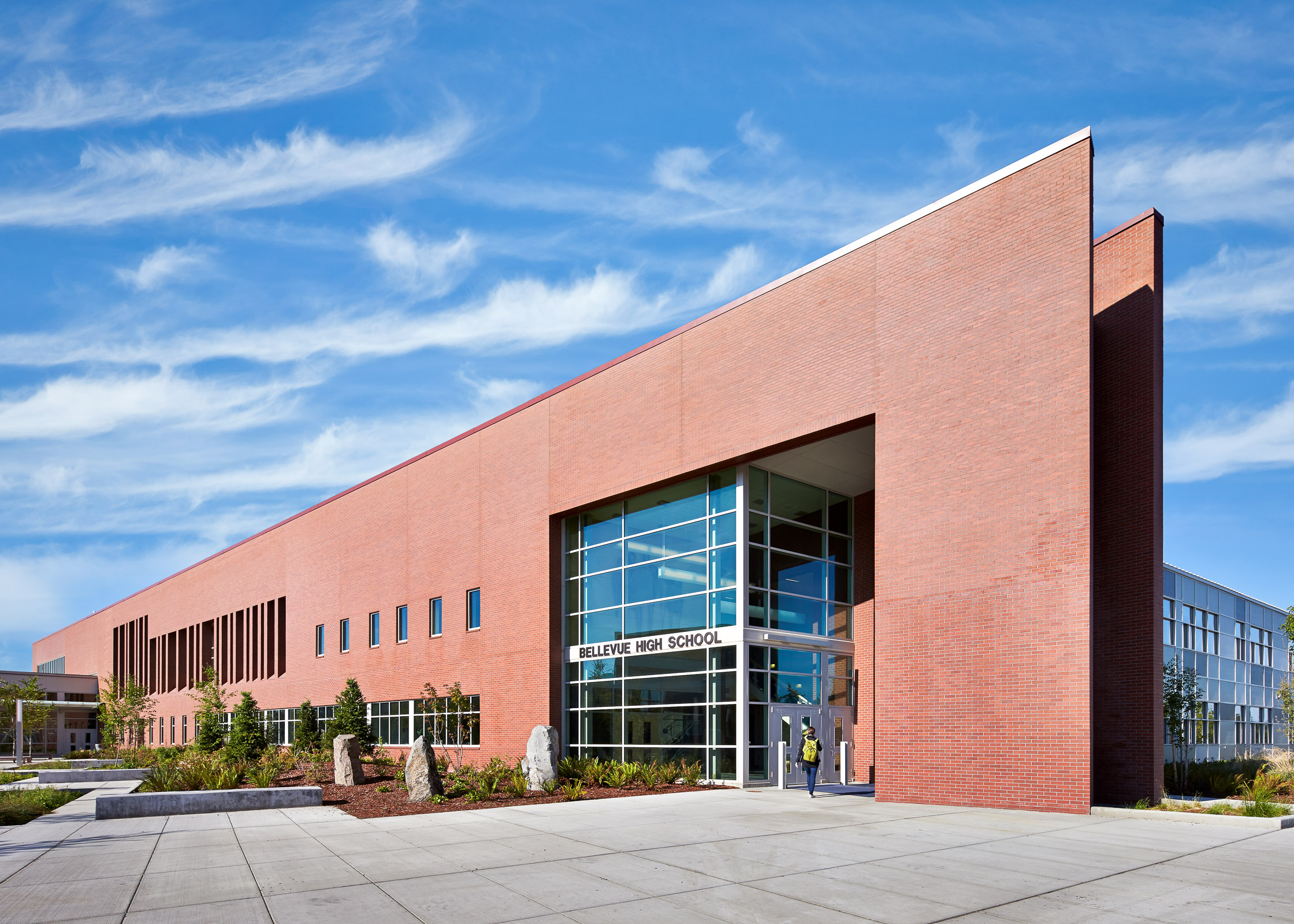 Bellevue High School. Bellevue, Washington Image license: NAC Architecture. © Copyright 2013 Benjamin Benschneider All Rights Reserved. Usage may be arranged by contacting Benjamin Benschneider Photography. Email: bbenschneider@comcast.net or phone: 206-789-5973.